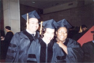 Nabil El-Ghoroury, Tanya Williamson & Roxanne Manning, celebrating their graduation with their PhDs!!! (El-Ghoroury, 2002)