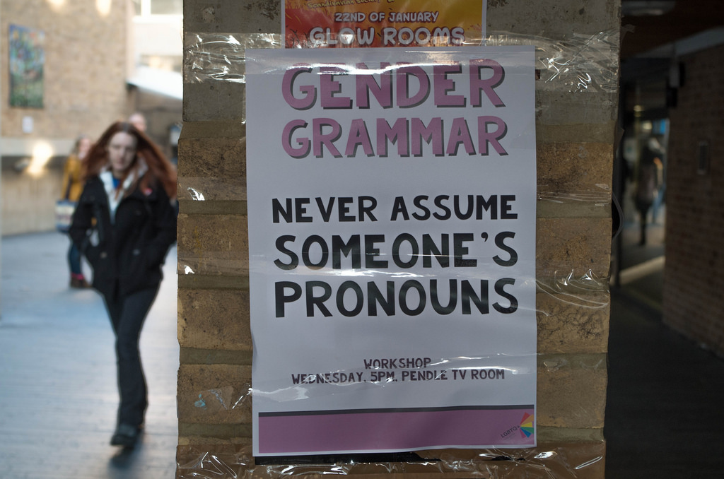 Adding your preferred pronouns to your email signature is one of many ways to advocate for and with transgender and gender-nonconforming individuals. (Image source: DaveBleasdale on Flickr. Some rights reserved.)