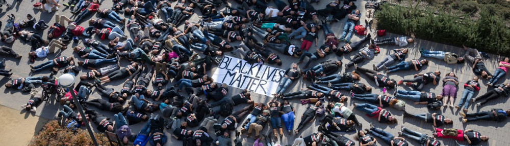 Students at a #blacklivesmatter die-in. There is a planned die-in across the country on April 4. (Image source: Author).